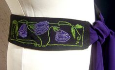 Art Nouveau  embroidered belt for women by AriZaDesign on Etsy, $90.00