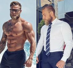  Stian Bjørnes is the definition of Muscle and Style 👊  📸:  ➖➖➖➖➖➖➖➖➖➖➖➖➖➖➖➖   Mens Hairstyles With Beard, Hair And Beard Styles, Hommes Sexy, Muscular Men, Fine Men, Gym Wear, Stylish Men, Bearded Men, Mens Fitness