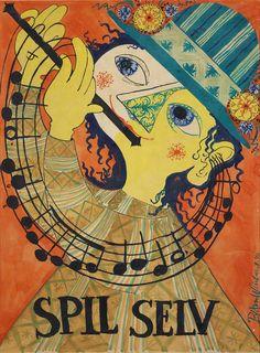 Web Bjoern Wiinblad Spil selv 1946. Plakatforlaeg til Musikugen gouache paa papir. Foto Anders Sune Berg