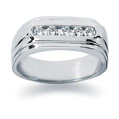 0.35 ctw. Men's Round  Diamond Wedding Band in 14K White Gold