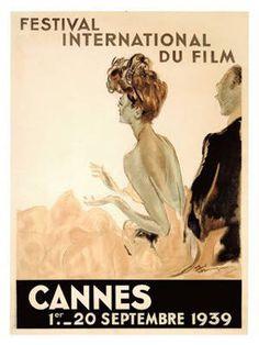 Cartaz 1939 Cannes Film Festival. No final dos anos 1930, chocado pela ingerência dos governos fascistas alemão e italiano na seleção dos filmes da Mostra de Veneza, o ministro da Instrução pública e de Belas Artes, propõe a criação, em Cannes, de um festival cinematográfico de nível internacional. Em junho de 1939, Louis Lumière aceita ser o presidente da primeira edição do festival. A declaração de guerra da França e do Reino Unido à Alemanha a 3 de Setembro anulou o evento.