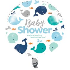 Blue Whale Baby Shower Foil Balloon (1 ct)