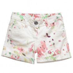 Illudia Girls Ivory Floral Cotton Shorts at Childrensalon.com