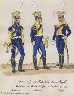 Naples; Garde Royale, Squadron of Velites a Cheval, Trumpeter, Lieutenant & Velite, 1807-08 by H.Boisselier