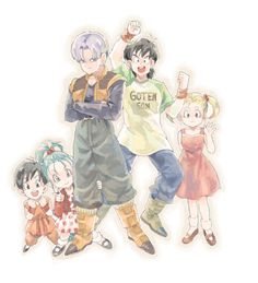 Pan, Bulla, Marron, Goten, and Trunks