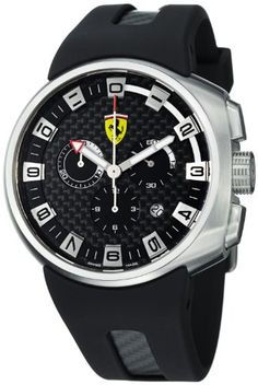 Shop for Ferrari Men's 'Podium' Black Fiber Dial Chronograph Quartz Watch. Get free delivery On EVERYTHING* Overstock - Your Online Watches Store! Sport Watches, Cool Watches, Watches For Men, Wrist Watches, Men's Watches, Dream Watches, Ferrari Watch, Ferrari F1, Swiss Made Watches