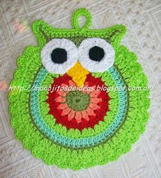 Crochet Potholders only Crochet Owls, Crochet Potholders, Knit Or Crochet, Crochet Animals, Crochet Motif, Crochet Patterns, Crochet Kitchen, Crochet Home, Crochet Crafts