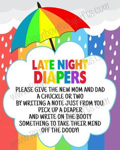 Awesome PRINTABLE Late Night Diapers Sign, Baby Shower Party Sign, Baby Shower  Games, Game Station Sign, Rainbow Baby Shower Sign, INSTANT DOWNLOAD