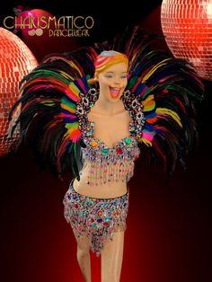 CHARISMATICO Gay Pride Multiple color rainbow samba bra, belt and collar costume #CHARISMATICO