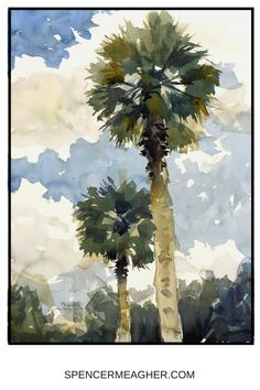 Original watercolor painting of two palm trees on a beach in Florida. This painting by Spencer Meagher would make a unique christmas gift or addition to your beach themed decoration. #beachdecor #interiordesign #watercolor #palmtrees