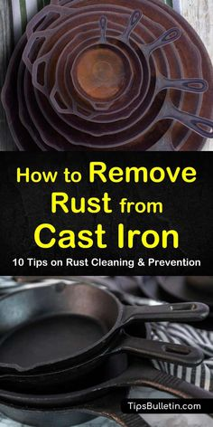 Learn how to remove rust from cast iron stoves, pans, and dutch ovens. Find out how to use products like baking soda and salt to scrape away rust particles. Use these tips and tricks to restore your favorite cast iron cookware in no time. Rusty Cast Iron Skillet, Cast Iron Stove, Cast Iron Dutch Oven, Cast Iron Cookware, Cast Iron Cooking, Deep Cleaning Tips, House Cleaning Tips, Spring Cleaning, Cleaning Hacks