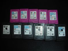 Lot Of 11 EMPTY USED INK CARTRIDGES GENUINE HP Virgin & Non Virgin 61XL