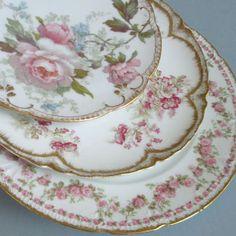 HAVILAND Limoges Porcelain Plates... Garlands of Roses China