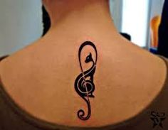 music cat tattoo