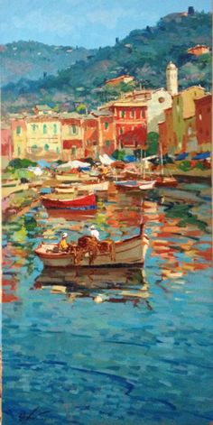 Portofino Italy Painting on Canvas, Seascape Painting Impressionist Art Boats Fisherman Painting Tra Watercolor Canvas, Acrylic Painting Canvas, Seascape Paintings, Landscape Paintings, Oil Paintings, Portofino Italy, Art Village, Italy Painting, Aesthetic Painting