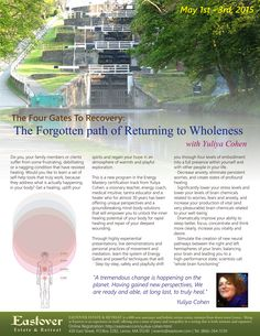 May 1 - 3, 2015 The Four Gates To Recovery: The Forgotten path of Returning to Wholeness with Yuliya Cohen