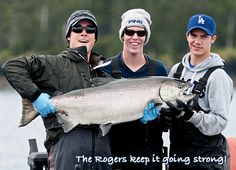 The Rogers keep it going strong! A beautiful Queen Charlottes trophy salmon. Keep Going, Salmon, Fishing, Strong, Queen, Seasons, Sports, Beautiful, Hs Sports