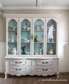 Hutches are some of my favorite remodels, like this French hutch makeover. See how I transformed this piece with a fresh update here. Painted China Cabinets, Painted Hutch, White Painted Furniture, Painting Furniture, Distressed Furniture, China Hutch Makeover, French Provincial Furniture, Repurposed Furniture, Refinished Furniture