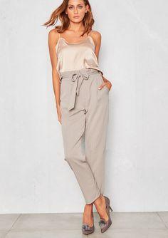 f29521292915  Camilla  Grey Pinstripe Paperbag Waist  Pants