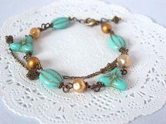 ミントグリーンのフラワーヴィンテージビーズのブレスレット Creema Handmade Crafts Vintage Beads Bracelet Flower Green Mint ハンドメイド アクセサリー