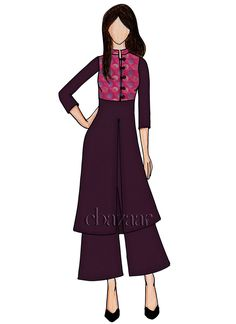 Buy Shadow Purple Art Silk Palazzo Set online, SKU Code: This Purple color Party indowestern sets and suits for Women comes with Art Silk. Dress Design Sketches, Fashion Design Sketches, Fashion Illustration Dresses, Fashion Illustrations, Trendy Dresses, Dresses For Work, Fashion Artwork, Fashion Vocabulary, Dress Drawing