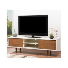White-Brown-TV-Stand-Entertainment-Media-Console-Mid-Century-Modern-Retro-Walnut