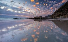 It's a popcorn sunset over Noordhoek beach. Photo by Wonderful Places, Beautiful Places, High School Cheer, Visit South Africa, Good Cheer, A Team, Cool Pictures, Clouds, Photo And Video