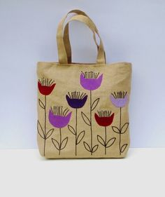 The purple flowers Handmade jute Tote bag unique sporty by Apopsis