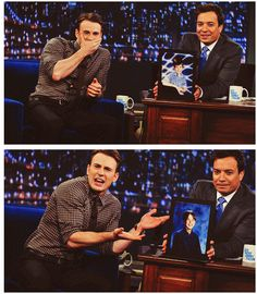 Chris Evans freaking out. They found his little kid pics!! XD