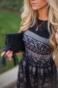 Black lace holiday dress.