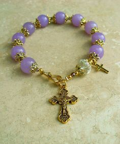 Genuine Lavender Jade Crystal Antique Gold Rosary Bracelet
