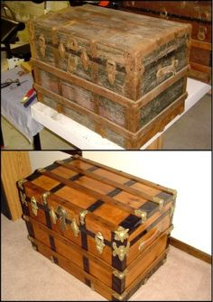 Old Furniture Restoration Steamer Trunk Best Ideas Old Trunks, Vintage Trunks, Trunks And Chests, Vintage Suitcases, Vintage Luggage, Antique Trunks, Wooden Trunks, Antique Chest, Wooden Chest