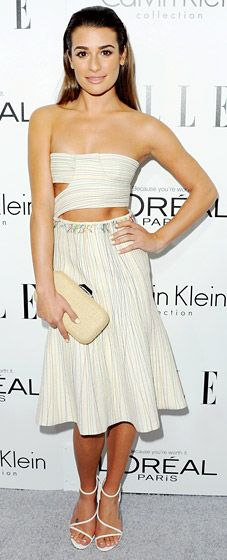 Lea Michele showed some skin in a cutout Calvin Klein Collection dress, Brian Atwood shoes and jewels by Anita Ko.