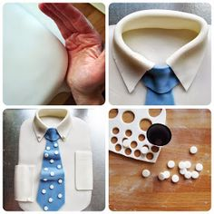 Good Food, Shared: How to Make a Shirt and Tie Cake Fondant Cake Tutorial, Cupcake Tutorial, Fondant Cakes, Cupcake Icing, Cupcake Cakes, Frosting, Cakes For Men, Just Cakes, Mustache Cake