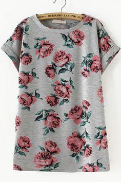 Grey Short Sleeve Floral Loose T-Shirt 13.33