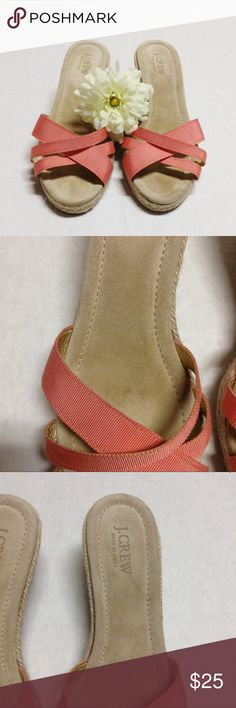 "J. Crew espadrille wedge coral ribbon sandals J. Crew espadrille wedge coral ribbon sandals. Made in Italy size 9. They run small, measures 9.5"" which is approximately the same as a size 8 sandal of the same style. Suede inner sole. Some stains on inner sole and outer sole. J. Crew Shoes Wedges"
