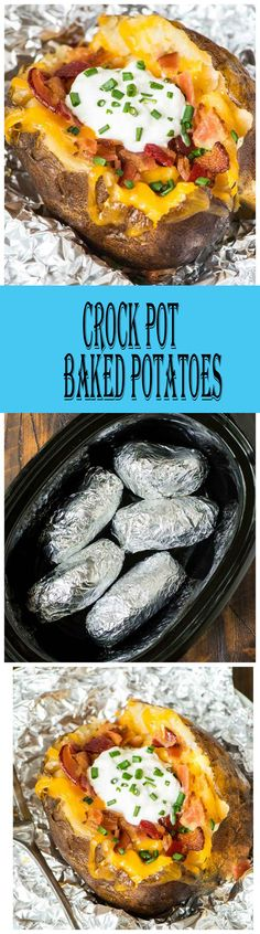 Crock Pot Baked Potatoes Recipe The Easiest Way To Bake A Potato Is In Your Slow Cooker Easy Method With No Clean Up. Extraordinary For Weeknight Dinners Or To Feed A Crowd. Formula At Wellplated Crock Pot Food, Crockpot Dishes, Crock Pot Slow Cooker, Slow Cooker Recipes, Cooking Recipes, Crock Pots, Crockpot Meals, Cooking Time, Dinner Crockpot