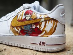 Nouvelle -Sabaku no Gaara 🏜愛 Anime Inspired Outfits, Anime Outfits, Painted Sneakers, Painted Shoes, Custom Sneakers, Custom Shoes, Naruto Shoes, Mode Geek, Nike Shoes Air Force
