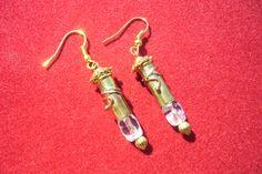 Γυναικεία σκουλαρίκια από ορείχαλκο και διαφανές γυαλί