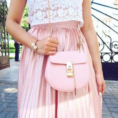 Chloe (inspired)  #bag #pink #ootd Fashion Ideas, Women's Fashion, Girly Outfits, Jennifer Lawrence, Pastels, Dress Skirt, Chloe, Arm, Ootd