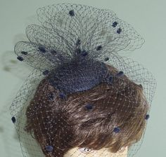 Wedding Cocktail  Hat French Veiling Navy Blue Bridal by AnnLeslie, $57.00