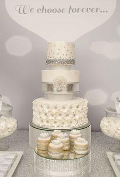 Silver and Sequins Wedding Dessert Table via Kara's Party Ideas KarasPartyIdeas.com Decor, printables, desserts, favors, etc! #silverwedding #weddingdesserttable (15)