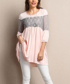 This Light Pink Lace Bodice Tunic - Plus by Reborn Collection is perfect! #zulilyfinds