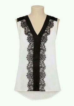 Like vneck and black lace detail