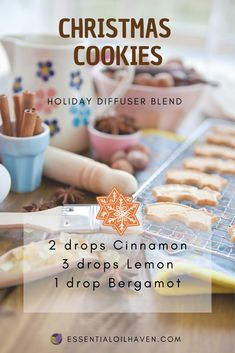 "12 Of My Favorite Essential Oils Christmas Diffuser Blends : Christmas Essential Oil Diffuser Blend - ""Christmas Cookies"" Melaleuca Essential Oil, Essential Oils For Headaches, Vanilla Essential Oil, Chamomile Essential Oil, Essential Oil Diffuser Blends, Diy Candles Essential Oils, Essential Oils Christmas, Diffuser Recipes, Aromatherapy Oils"