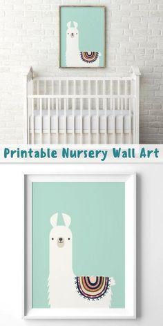 Llama Nursery Print Printable Gift For Children Kids Room Decor Art Cute Animal Mint Pastel Color Tribal Alpaca