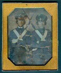 Quarter Plate Daguerreotype Two Uniformed Armed 1847 Mexican War Volunteers | eBay