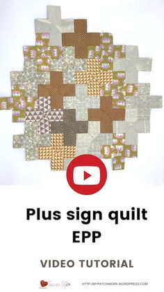 Plus sign quilt – Video tutorial (Sewn up, TeresaDownUnder) Plus Quilt, Quilt Top, Quilting Tutorials, Sewing Tutorials, English Paper Piecing, Easy Projects, Scrapbooking Layouts, How To Fall Asleep, Quilt Blocks