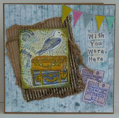 DT card with Crafty Individuals stamps. Vintage style with Frantage and Distress Stain background.