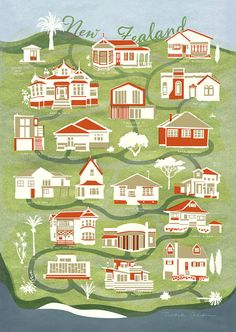 New Zealand Map of houses / Fine Art Print – beautiful, detailed illustration, graphic style – in green, red, blue & off-white – New Shop